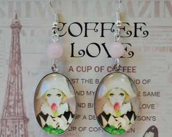 Cabochon earrings with romantic Pierrot
