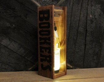 Booker's Bourbon Display Box Lamp, Gift For Men, Wood Table Lamp, Bourbon Bottle Light, Gift For Men, Bourbon Enthusiast, Home Decor Light