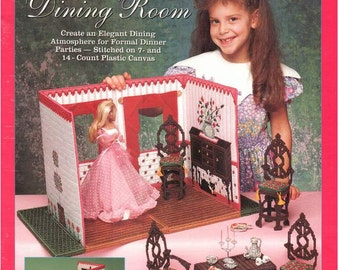 Fashion Doll Carry & Play DINING ROOM, Plastic canvas pattern travel play set sized for Barbie, Sandra Miller-Maxfield, Fran Rohus, 943746.