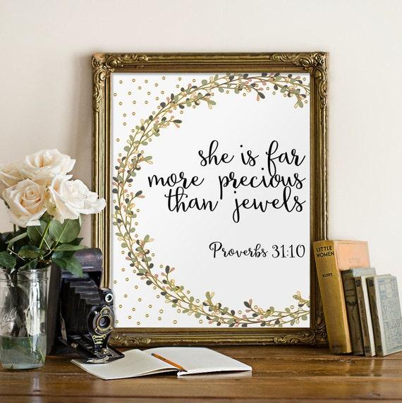 Bible Verse Proverbs 31 10 Nursery Wall Art By