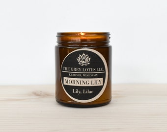 Morning Lily Candle || Hand Poured || Organic Soy Wax // Amber Glass Jar