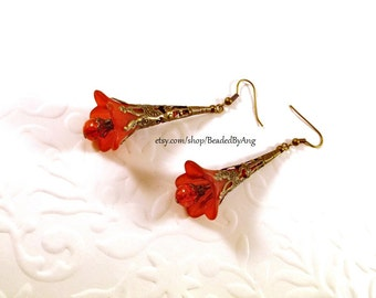Flower Earrings, Red Flower Earrings, Floral Jewelry, Spring Earrings, Vintage Style Earrings, Lucite Flower Earrings, Long Dangle Earrings