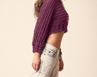 Knit sweater, dark old rose knit, chunky crop pull, womens hand knit, wool hipster jumper, long sleeves, spring wear, longer back top, cozy
