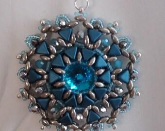 tutorial PDF, superduo pendant, PDF pattern,beading pattern,superduo tutorial,step by step,blue pendant, big pendant