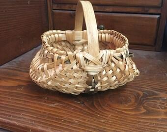 Tiny Vintage Woven Farm Basket