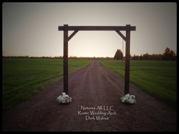 Rustic Wood Wedding Arch/Wedding Arbor/Complete Kit For Indoor Or Outdoor Use/Country Wedding Backdrop/Dark Walnut/Shipping Included/