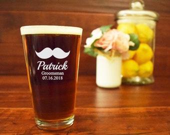 Groomsman Pint Glass, Mustache Beer Glass, Groomsmen Beer Mugs, Gifts for Groomsmen, Bachelor Party, Engraved Beer Mugs, Etched, PG04