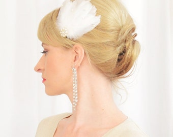Art Deco bridal feather hair brooch