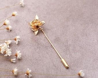 2pcs - Vintage Gold Plated Brass Rose Stick Pin / Brooch (L032)
