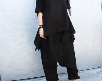 Black Linen Shirt / Asymmetric Summer Top / Casual Loose Shirt by Fraktura B0017