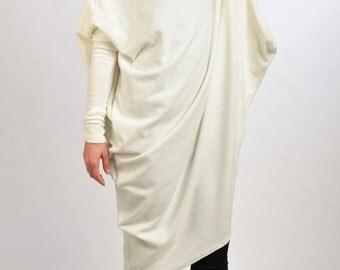 Maxi Winter Dress/Asymmetrical White Dress/Turtle Neck Plus Size Dress/Maxi White Tunic/Twisted Extravagant Dress   D0014