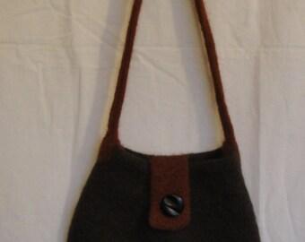 brown felt bag, knit felt handbag, brown shoulder bag, wool felted bag, brown and tan bag, brown felt handbag, handbag with vintage button