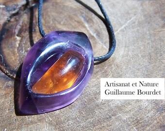 Handmade pendant Hessonite Garnet cabochon inlaid into sculpted dark Ametrine
