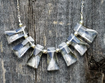 Modern, Geometric, Clear Crystal Necklace