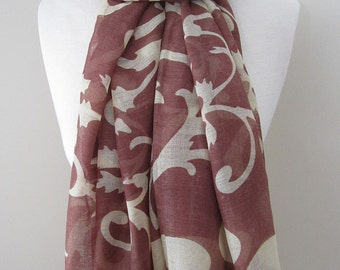 Brown infinity scarf with ivy patterns in ivory color - Long rectangle cotton scarf, lightweight voile scarf for spring and summer