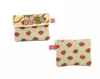 Owl keychain wallet // Key fob // Owl mini purse // Business card holder // Business card case // Gift card holder // Coin bag // Coin purse