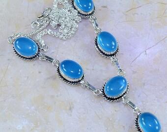 "Blue Chalcedony Necklace 20"" Princess Style"