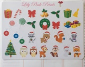 27 Christmas Woodland Animal Stickers - Perfect for Erin Condren Planner Stckers