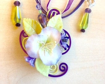 Aluminium and cold porcelain jewelry set, purple and soft green