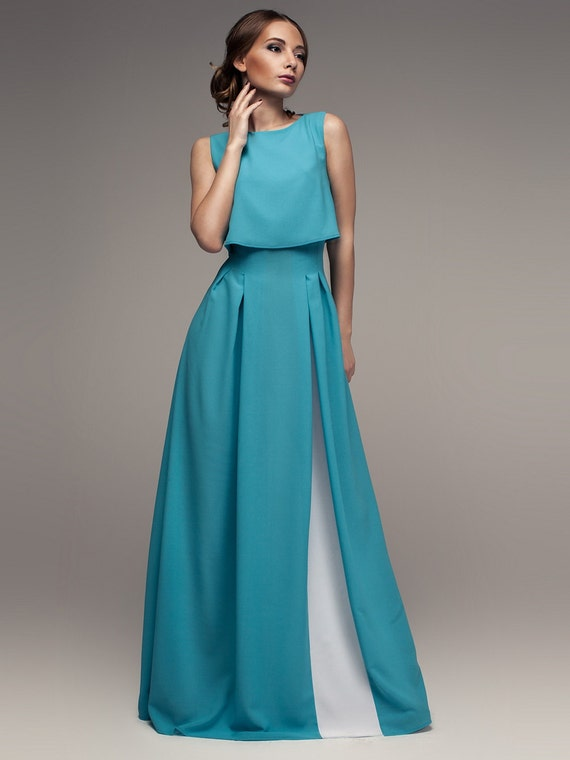 Chiffon maxi dress turquoise white evening by for Turquoise and white wedding dresses