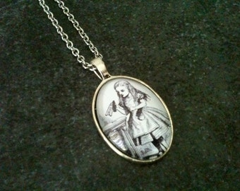 Alice in wonderland necklace, Alice necklace, black and white pendant, vintage necklace, gift idea, stainless steel chain
