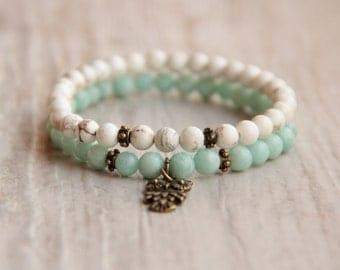 Beaded bracelet set Turquoise mint bracelet Double owl bracelet Small bracelet Gift for girl Gemstone Bracelet stretch bracelet Boho Chic
