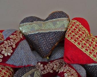 Bulk Order Of Handmade Felt Heart Ornaments * Rustic * Shabby Chic (Set 1)