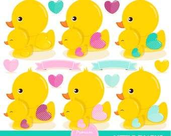 Baby shower clipart, Rubber duck clipart, Rubber ducky, Baby girl, Baby clipart, Baby scrapbooking - CA437