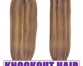 "Fits like a Halo Hair Extensions 20"" Light Nat Brown/Dark Blonde Mix (#7A/7B) - Human No Clip In Flip In Couture by Knockout Hair"