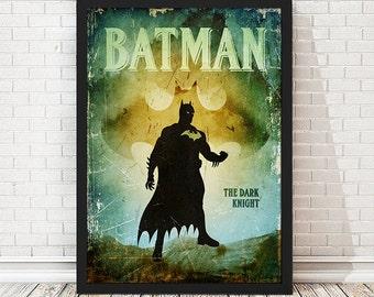 Vintage Dark Knight Batman Poster, Retro Poster, Minimalist Poster