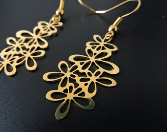 Print flowers earrings