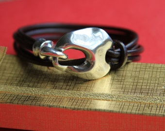 4/10 MADE in EUROPE zamak hook clasp, bracelet shiny clasp, silver hook clasp (ABLZ68S) Qty1