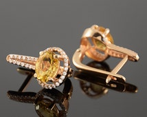 Citrine earrings, Gemstone earrings, Geometric earrings, Women earrings, Birthstone earrings, Everyday earrings, Gold citrine earrings