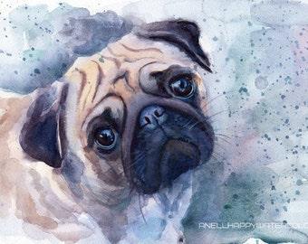 Pug print Pug watercolor painting Pug poster Pug big print Pug portrait Pet print Dog print Print of my original watercolor painting Pet art