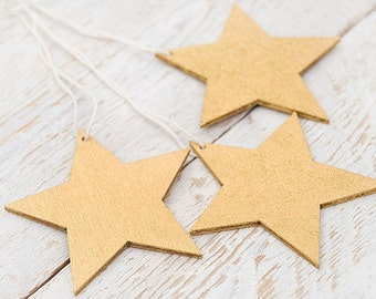 Gold star ornament Natural wood tag Holiday two-sided ornament Holiday decor Eco gift for child Plywood DIY decor Eco friendly gift tag