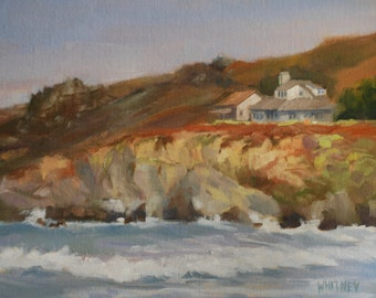 """California Painting, California Seascape, California Coastline Oil, Original Oil Painting by Sue Whitney  9""""H X 12""""W Oil on Canvas on Panel"""
