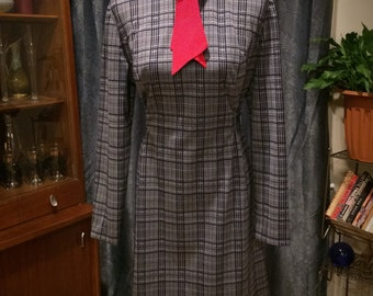 Vintage 1960's Mod Mad Men Long Sleeved Blue and White Plaid Pattern Fitted Fall Winter Spring Dress with Red Necktie