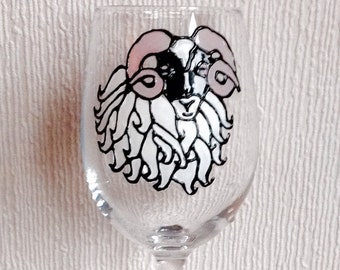 1 Blackface Sheep Wine Glass / Hand Painted / Sheep / Scottish Sheep / Scotland