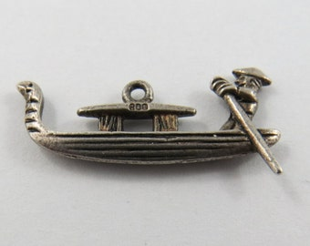 Gondola Boat with Driver .800 Silver Charm or Pendant.