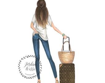 The Traveler - Designer Bag High Heels - Vacation Fashion Illustration