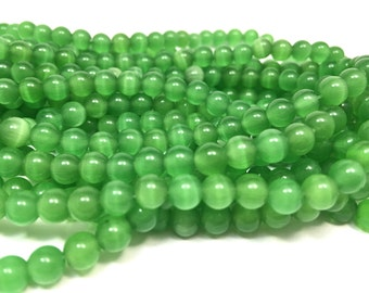 6mm Smooth Bright Green Cat Eye Beads Full Strand (66 Round Beads)