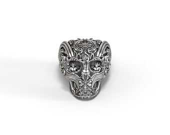 Gothic skull ring with gargoyles and a touch of fantasy - silver, gold, palladium, platinum