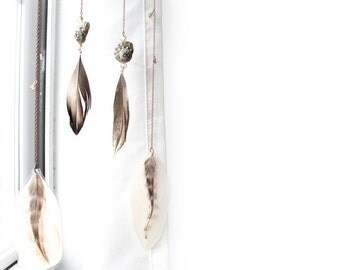 Feather Wall Hanging - Beaded Driftwood Mobile with Neutral Duck and Rooster Feathers on Copper Chain