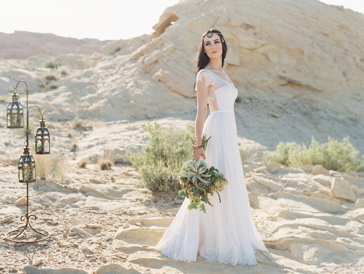Lowback Romantic Bohemian Wedding Dress With Illusion