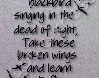 Blackbird singing in the Dead of Night · The Beatles song design · {svg, dxf, jpg, & pdf files included} · Cutting Machine design