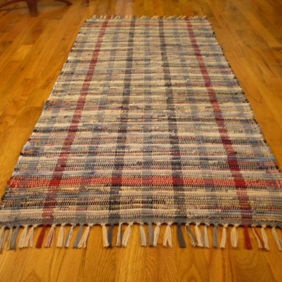 Rag Rug Runner Red White And Blue
