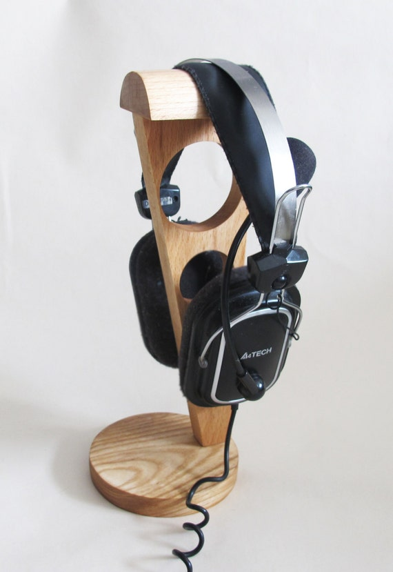 Items similar to headphone stand wood headphone holder rustic wooden headphone stand - Wooden headphone holder ...
