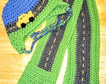 Tuque boy hook, child scarf, yellow car, tuque muffs, cords braided, scarf with pockets, scarf pattern road