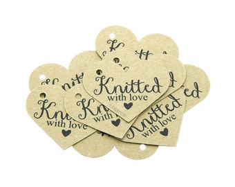 Items similar to hand knit tags hand stamped hand knit for Hand knit with love labels