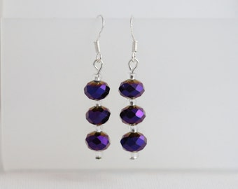 Sparkling Purple Rondelle Crystal Earrings
